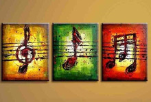 Handmade Paintings Hand Painted Colorful Music Note Art Oil Painting Modern Abstract Canvas Decoration Home Wall Picture 3pcs