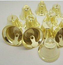 cheap 120pcs 11mm metal golden bell christmas deco supplies Opening bell trumpet bells Free Shipping