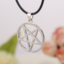 Black Butler necklace Pentacle pentagram pendant Lucifer Satan logo sign silver Supernatural jewelry for men and women wholesale