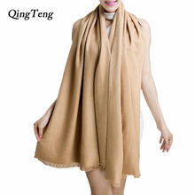 Pashmina Cashmere Silk Shawl Solid 200*60cm Echarpe Luxury Designer Scarf Winter 2015 Womens Fall Fashion Thick Scarf Brand Free(China)