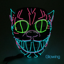 Crazy Beat-Boy Favor Light Up Happy Theme Mask EL Cold Light Ball Dance Cat Face Holiday Lights Led Party Cheer Mask with Drive(China)