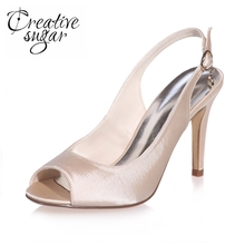 Creativesugar concise slingback open toe woman satin dress shoes bridal wedding party banquet high heels white ivory silver blue