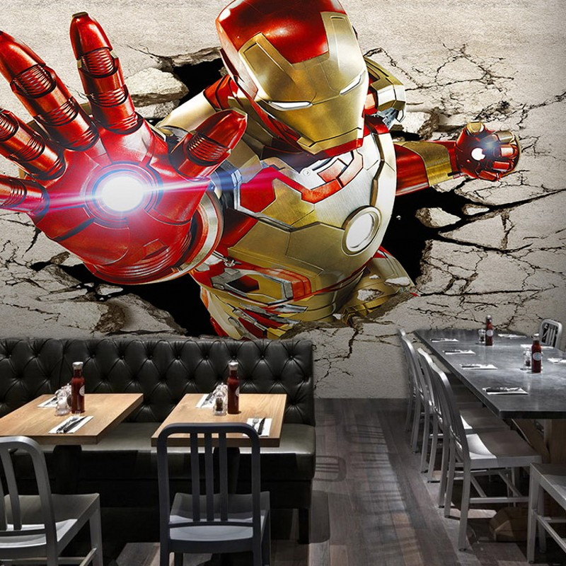 Poqiang Iron Man movie wallpaper 3d perspective locomotive large mural wallpaper background bar cafe ktv box<br><br>Aliexpress
