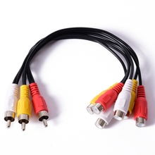 New Hot 3 RCA Male To 6 RCA Female Plug Splitter Audio TV DVD Video Adapter AV Cable LKD