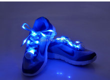 Newest styles 10 Pair/lot Nylon Glowing LED Shoe laces shoestring,Best Price Disco Flash light up LED Shoelace