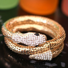 New Arrival Vintage Punk Rhinestone Curved Stretch Cuff Bangle Retro Snake Bracelet 5CV6