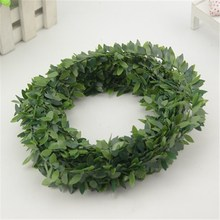 7m Cheap Artificial Green Flower Nylon iron wire Plastic Leaves Rattan DIY wreath Accessory For Wedding Decoration garland(China)