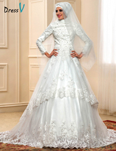 Elegant Muslim Turtleneck Wedding Dresses with Long Sleeves 2017 Hijab Lace Applique Vintage Arabic Bridal Gowns Islam Kaftan