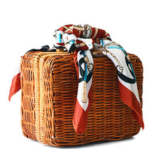 Fashion Summer Straw Weave Women's Handbags Retro Box Trunk Scarf Lunch Bags Beach Package Small Bags Ladies Scarves BA214