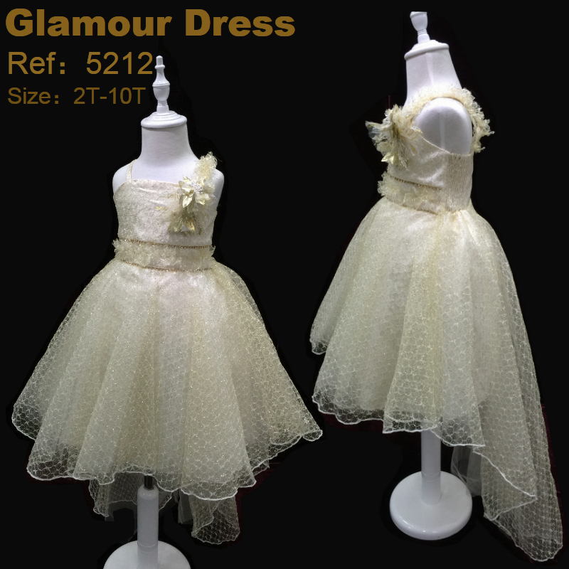 Factory Free Shipping Child Dress 2017 New Arrival Gold Lace Girl Party Dresses For 2-10 Years Kids Pageant Gown with long Train<br>