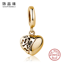 Buy Shipinwei 925 Sterling Silver Beads Gold Color Heart Charms Pendant Fit SPW Bracelet & Necklace Women DIY Jewelry for $6.26 in AliExpress store