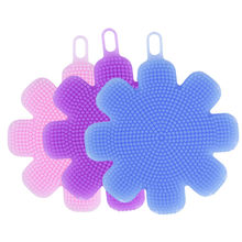 Kitchen Bowl Dish Silicone Brush Tools Cleaning Aceessories Blue Pink Purple Flower Shape Dishwashing Brush Cleaner