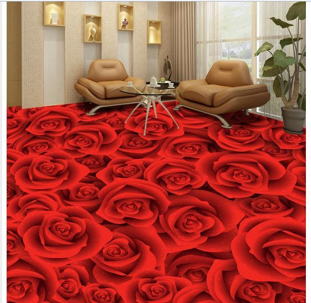 3D custom mural pvc waterproof wallpaper Hd roses sitting room bedroom 3 d floor tile paintings bathroom floor painting<br>