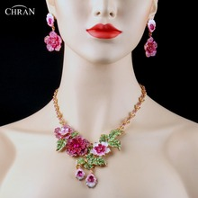 CHRAN Classic Costume Bridal Jewelry Accessories Luxury Pink Crystal Gold Color Flower Designs Wedding Jewelry Sets For Women