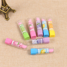2pcs rubber lipstick rotating toy eraser fruit pattern mix Eraser Correction tackle Office School Supplies Stationery