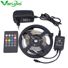 RGB LED Strip 5M 300Leds SMD 3528 with Music Remote Controller 12V 2A Power Adapter Changeable LED Light Diode Tape