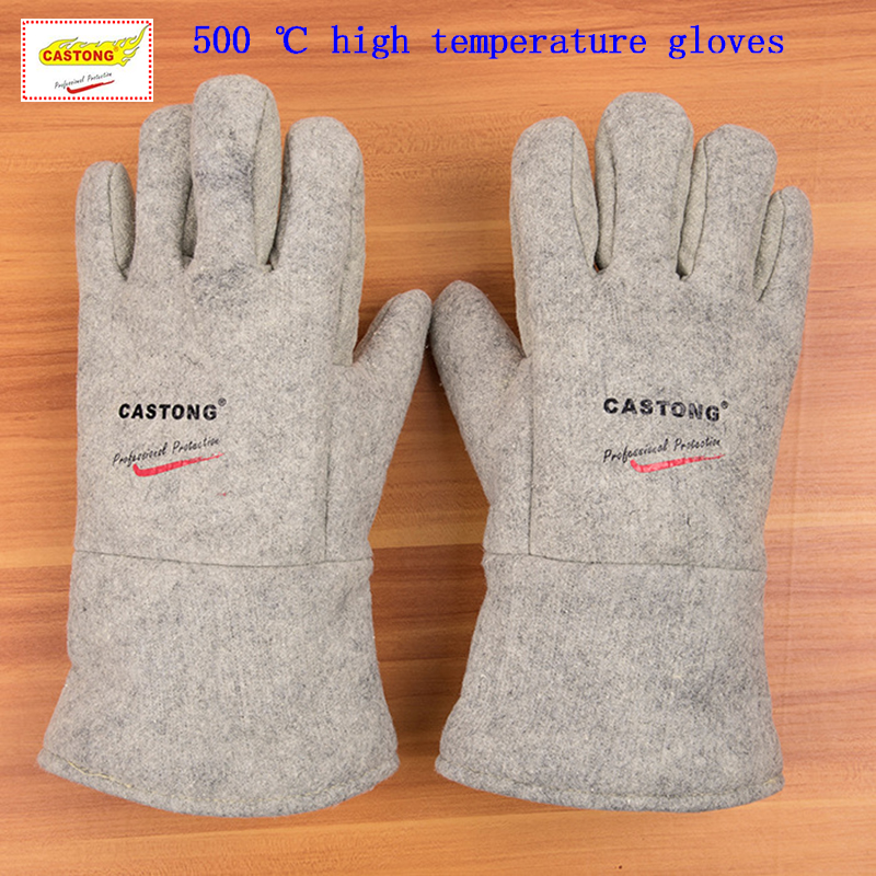 CASTONG 500 degrees high temperature gloves Aramid + aluminum foil fireproof gloves Flame retardant Anti-scalding protect gloves<br>