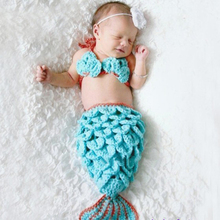 Blue Mermaid Newborn Baby Photo Photography Props Infant Handmade Outfits Crochet Knit Cocoon Set Knitted Bebe Boy Girl Costumes(China)