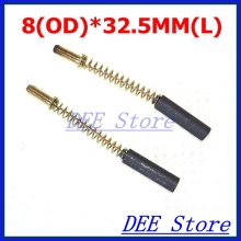 2pcs 8mm(OD)*32.5mm(L) Round Cylindrical Motor Carbon Brushes Power Tool Hand Drill Hammer Saw Grinder Electric Motor
