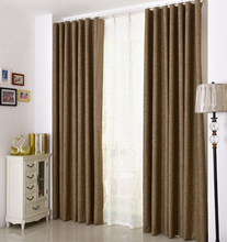 Ready made Blackout solid  linen look fabric mordern curtains for living room bed room window blinds curtain green brown beige