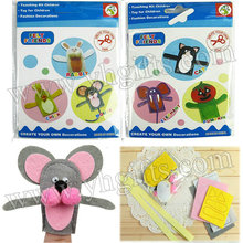 10BAGS/30PCS/LOT.Felt  finger puppet craft kit,Create your own decorations,Hand puppet.Intelligence toy,6 design.8x9.5cm.