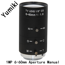 "Yumiki 6-60mm 1/3"" CS Lens CCTV Lens IR F1.6 Manual Zoom Manual Iris for IP CCTV CCD Camera"