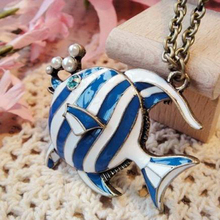 Selling Blue Tropical Fish Retro Fashion New Wild Female Models Sweater Chain Long Section Retro Pendant Necklace N66(China)