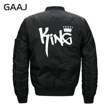"GAAJ Brand Jacket Men Fashion Bomber Print Letter ""King Quess Crown 01 07 Legends Are Born In"" Jackets For Mens Coat 7XL 8XL(China)"