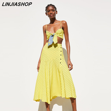 Women Summer Two Piece Set Casual Yellow Skirt Suit Short Top Button Chiffon Tulle Skirt Women Sets Blogger Style Vestidos 2019(China)