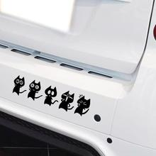 Reflective Family Car Sticker Funny Decal Wink Cat Comic Action Combination For Volkswagen Skoda Renault Toyota Opel Peugeot 206(China)