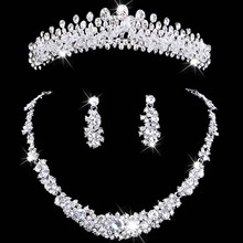 bridal jewelry tiara necklace and earring set Crown Tiara Rhinestone Wedding Accessories Bridal crystal jewelry(China)