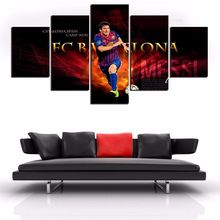 5 Panels HD Printed Football Star Messi Wall Art Painting Canvas Print Room decor print poster Picture Canvas P0573
