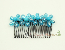 N13112706 blue faced drop crystal blue pearl flower hairpin comb clip(China)