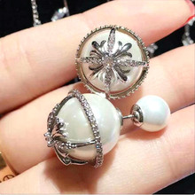 New Fashion Simulated Pearl Stud Earrings For Women Bijoux Snowflake Double Sided Earring Trendy Jewelry Fine Gift