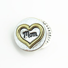 New Arrival DIY charm Gold  Peach heart  MOM snap button bracelet  fit 18mm snap jewelry