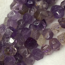 "Wholesale Natural Genuine Purple Yellow Ametrine Hand Cut Faceted Nugget Free Form Loose Beads 15"" 04260(China)"