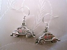 24pair *VOLKSWAGEN BEETLE CAR* Tibetan Silver Earrings BUG 3D 34MM KL1125