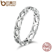 BAMOER Authentic 925 Sterling Silver Stackable Ring Infinity Love Finger Rings for Women Sparking CZ Wedding Jewelry SCR098(China)