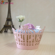 50Pcs Cupcake Wrappers Laser Cutting Love Birds Party Decoration Wedding Supplies Wedding Favors And Gifts Wedding Favors