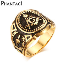 Buy 2017 Hot Vintage 316L Stainless Steel Men Ring Gold Free Mason Freemasonry Masonic Male Retro Punk Black Brand Ring Jewelry for $3.99 in AliExpress store