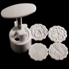 4 Stamps DIY Mooncake Mold Moon Cake Pattern Mould  Flowers Round  Baking Tool