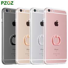 PZOZ For iPhone 6 Phone Ring Holder Case Silicone Cover Original For iphone 6s Plus Case Luxury Metal Stent Slim Soft Shell