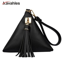 2017 New European Trendy Small Purse Fringe Bag Ladies Wallet Triangle Women's Clutches Casual Leather Handbags PP-537(China)