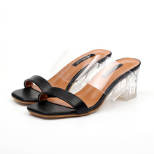 Hot sale new Shoes with transparent heels summer Slippers for women clear high heels transparent sandals mid Thick heel Slippers