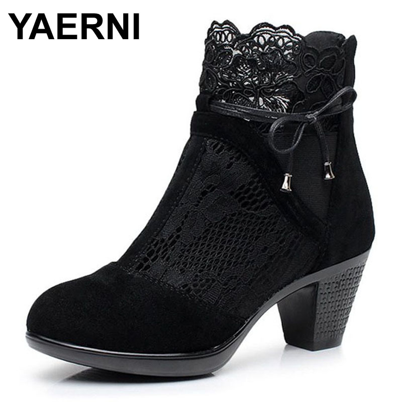 YAERNI Plus Size 34-40 Genuine leather spring and autumn martin boots medium hells shoes womens<br>
