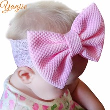 "Trendy 5"" Solid Cotton Hair Bow Lace Kids Girls' Elastic Headband Party DIY Headwrap For Kids Bandeau Headwear Hair Accessories(China)"