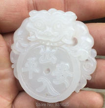 2pcs Wholesale Natural White Jade Carved Chinese Dragon Safety Lucky Amulet Pendants + rope Necklace Fashion Fine Jade Jewelry