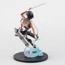 23cm High Quality Attack on Titan Model Mikasa Ackerman Action Figure Short Hair Ackerman Figure with Gift Box(China)