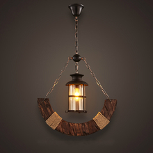 New Original Design Retro Industrial Pendant Lamp Lampe Old Boat Wood American Country style Nostalgia Lights Lighting Fixture