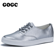 GOGC 2017 Flat Shoes Women Breathable Women Sneakers Footwear High Quality Silver Black White Women Flats Casual Shoes Slipony(China)